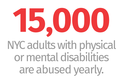 15,000 NYC adults with physical or mental disabilities are abused yearly.