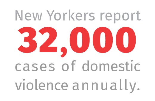 New Yorkers report 32,000 cases of domestic violence annually.